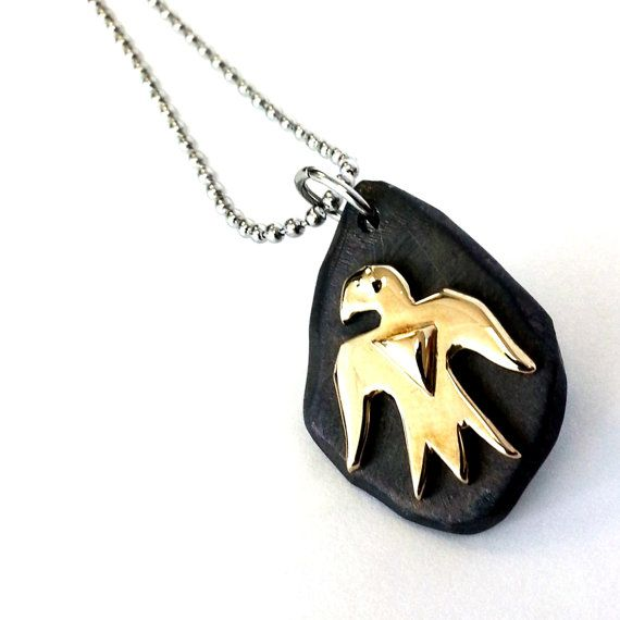 Brass Native Thunderbird on .925 oxidized silver by lorgjewels, $225.00