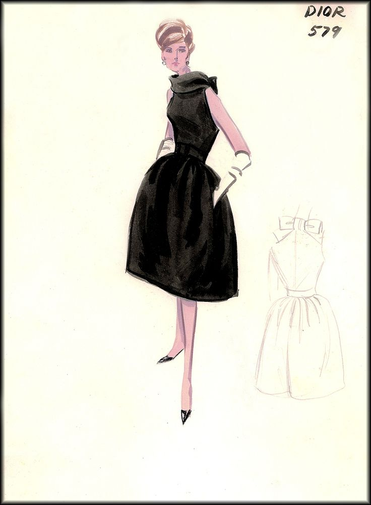 vintage ( late1950′s) sketches from Bergdorf Goodman's exclusive couture salon