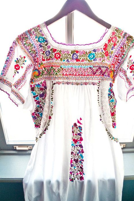 Vintage Oaxaca dress with floral embroidery and open crochet work, from FolieAdeuxVintage, Etsy
