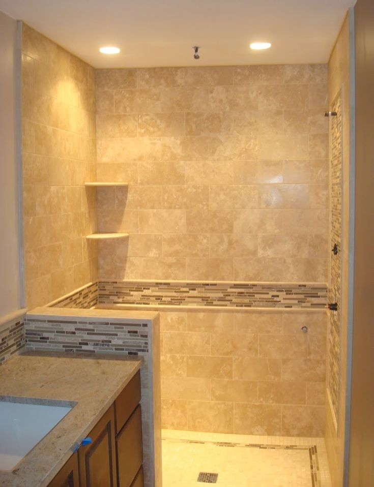 Travertine Shower & Back Splash with Glass Feature Band. Tile  BathroomsBathroom RemodelingMaster BathroomsBathroom IdeasBathroom ...