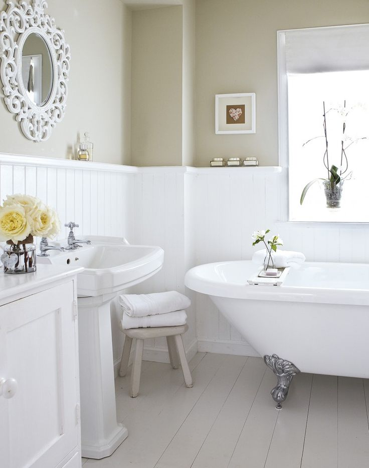 Don't feel you have to add colour to a bathroom- sometimes the beauty lies in the simplicity of a tone-on-tone palette.
