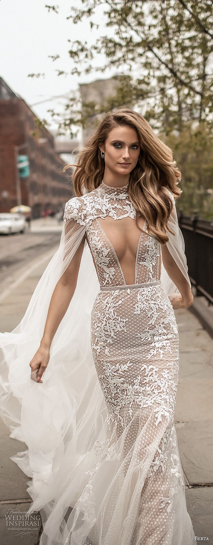 berta spring 2018 bridal thin strap deep plunging v neck full embellishment elegant sexy fit and flare wedding dress cape open back chapel train (15) mv -- Berta Spring 2018 Wedding Dresses