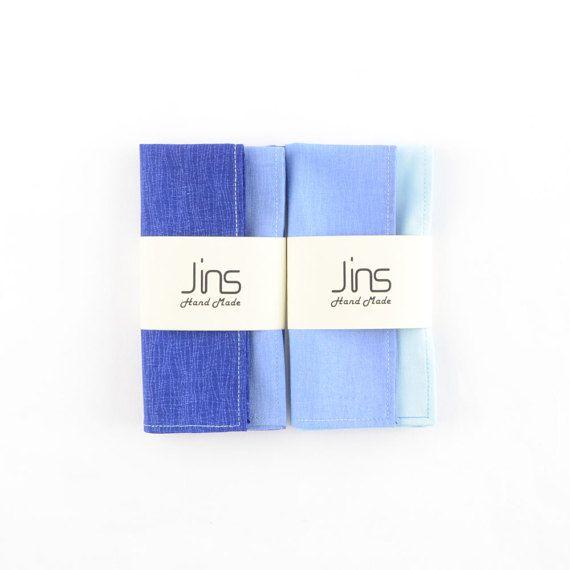 Blue gradient cotton handkerchief with multi-colour thread edge stitched, shades of blue pocket squares for men, mens blue handkerchief