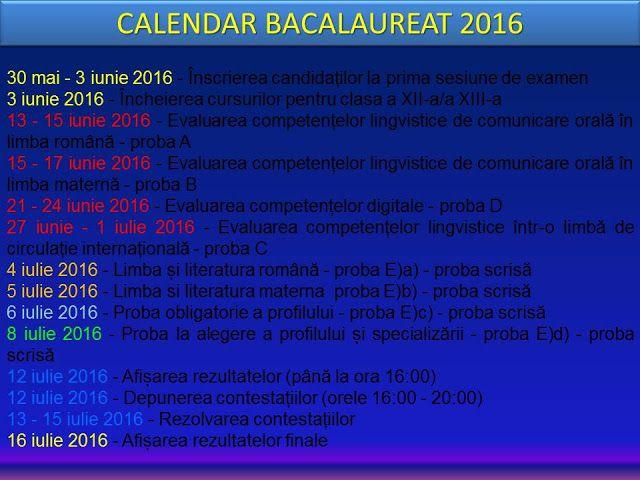 Profu`economist: CALENDAR BACALAUREAT 2016