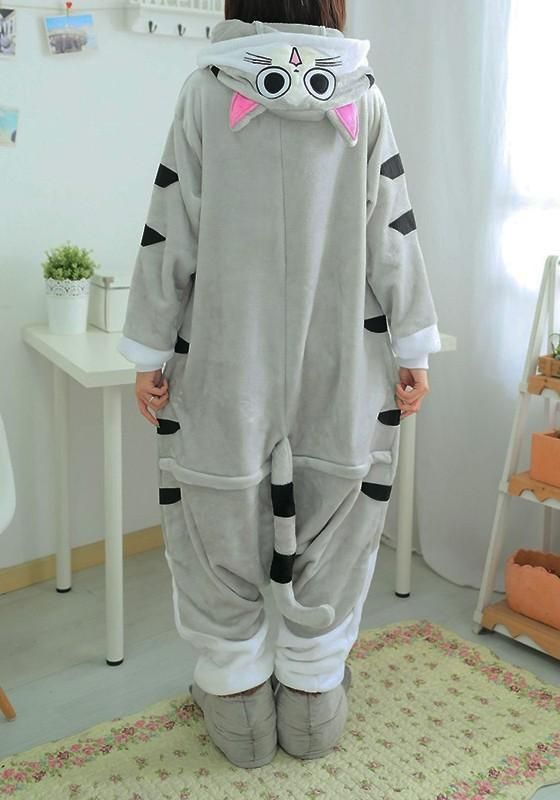 7021e14a9feb DaysCloth White Animal Cat Pockets Buttons Oversize Cosplay Onesie Pajamas  Long Jumpsuit