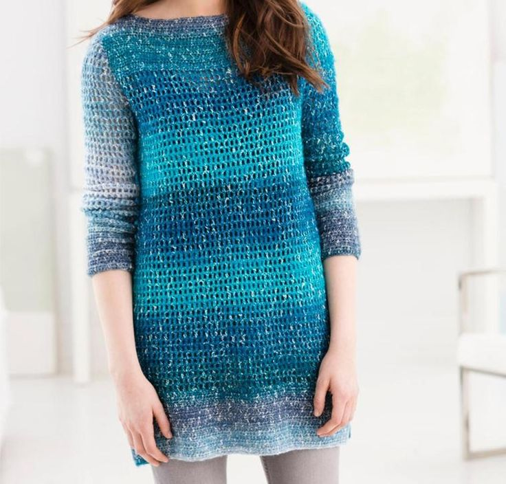 Blue Mesa Tunic Crochet Kit by Lion Brand featuring Shawl in a Ball Yarn   Craftsy
