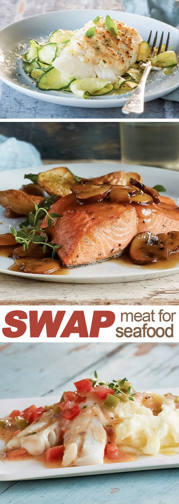 Replace ho-hum with yum and SWAP Meat with Alaska seafood.