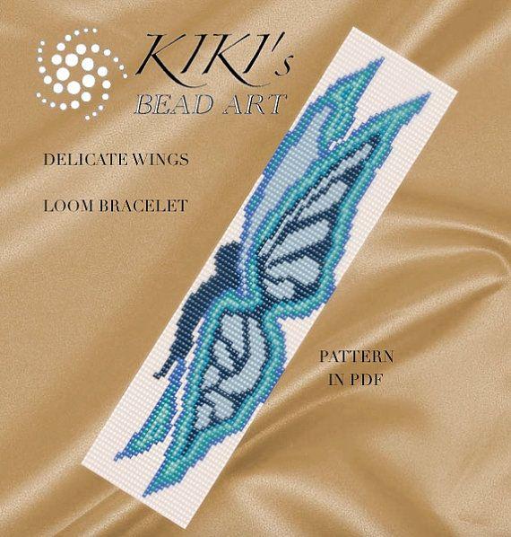 Bead loom pattern - Delicate wings butterfly patterned LOOM bracelet PDF pattern…                                                                                                                                                                                 More