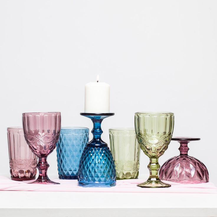 Glass candle holder , colored glasses; Pahare pentru lumanari