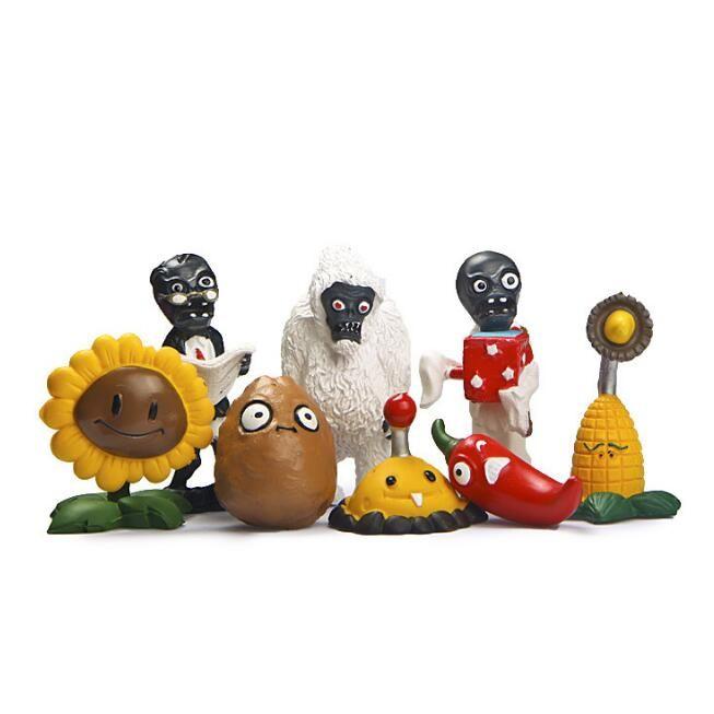 8Pcs/set Cool Game Plants Zombies PVC Collection Toys Potato Mini Jalapeno Sunflower Zombie Action Figure Dolls #Affiliate
