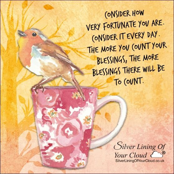 Consider how very fortunate you are. Consider it every day. The more you count your blessings, the more blessings there will be to count. ..._More fantastic quotes on: https://www.facebook.com/SilverLiningOfYourCloud  _Follow my Quote Blog on: http://silverliningofyourcloud.wordpress.com/