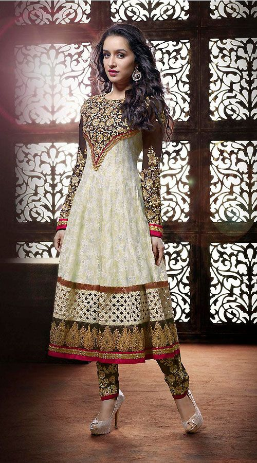 Shraddha Kapoor Fantastic White Georgette Bollywood Salwar Kameez