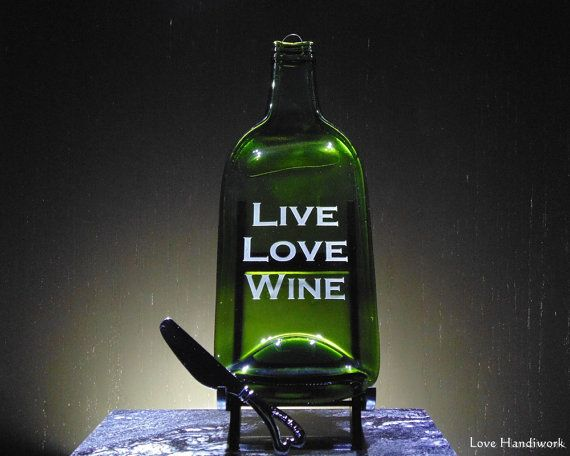 """Slumped Bottle Cheese Board Wall Hanging - Etched """"LIVE LOVE WINE"""""""