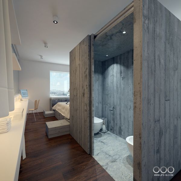 Small Hotel Room by Jose Fraga, via Behance