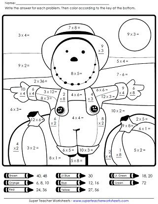 Autumn scarecrow math worksheet on Super Teacher Worksheets