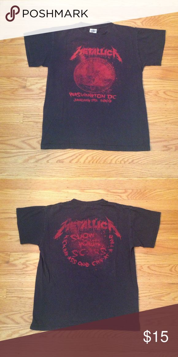 Black Metallica Tour T-Shirt Worn-in Metallica 2009 tour t-shirt in black. Size is small. 100% cotton. Has a vintage look. Super comfortable. Tops Tees - Short Sleeve