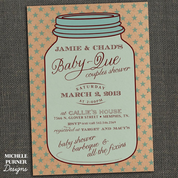 MASON JAR - Country Style Baby Shower Invitation - Baby Que - PRINTABLE
