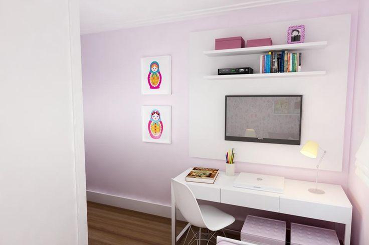 No cantinho de estudo, a parede divide o espaço com a tela de TV e o nicho, feito para organizar.