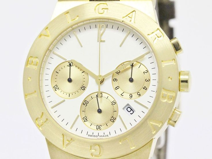 Polished #BVLGARI Diagono Sport Chronograph 18K Gold Quartz Watch CH35G (BF086626). #eLADY global accepts returns within 14 days, no matter what the reason! For more pre-owned luxury brand items, visit http://global.elady.com
