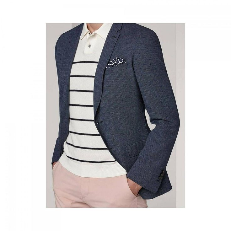 #Friday #OOTD #Soldes - Blue denim jacket in stretch cotton - Ecru polo neck sweater with navy blue stripes - Pink trousers in cotton Available in stores and on www.defursac.fr