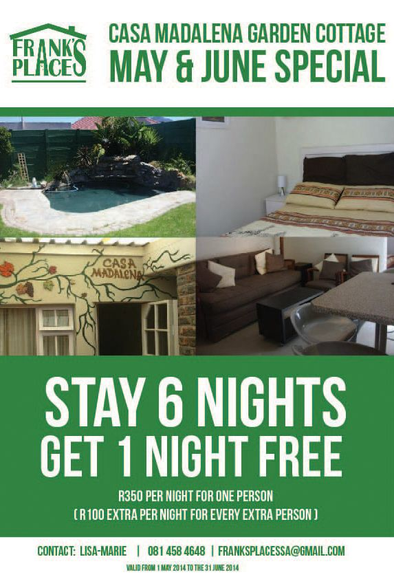 MAY & JUNE SPECIAL - stay 6 nights at Casa Madalena garden cottage, in Pinelands, Cape Town South Africa, during may or june and get 1 night free :) Perfect affordable family holiday accommodation.  EMAIL LISA at franksplacessa@gmail.com or lisa.mds@gmail.com for more info