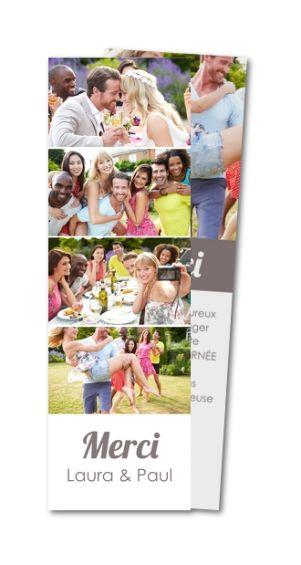 Carte de remerciement mariage Photomaton de jeunes mariés (MTR-140)
