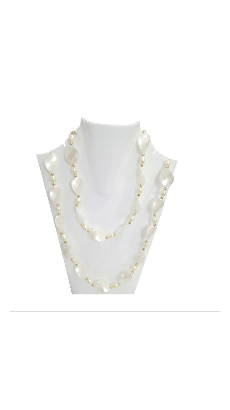 Traditional Handmade Long White Marble Stone Necklace