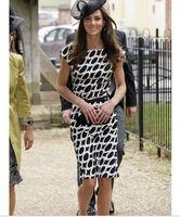 Платье воротник с открытой шеей короткая, принцесса кейт миддлтон же стиле женщины рукав черный белый горох принт длинная