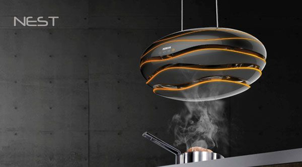 Nest - Kitchen Exhaust Fan by Juan Restrepo - The oval-shaped fan hangs delicately over freestanding stoves without obtruding open space. The unit itself detects smoke with a sensor that triggers the vents to open and begin working, making it completely hands-free. | Yanko Design