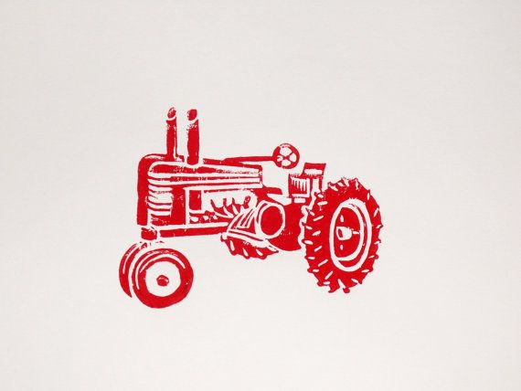 Hey, I found this really awesome Etsy listing at https://www.etsy.com/listing/110459182/vintage-red-tractor-linocut-block-print