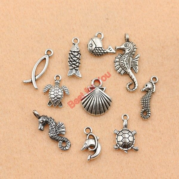 Mixed Tibetan Silver Plated Ocean Dolphin Hippocampus Penguin Shell Charms Pendant Jewelry Making Diy Charm Handmade Crafts c019