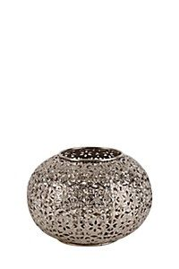METAL DAISY CUT OUT HURRICANE CANDLE HOLDER