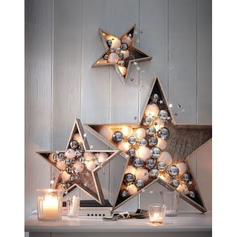 Beleuchteter Holzstern, weiß gewischt, LED, Batteriebetrieb Vorderansicht Mehr