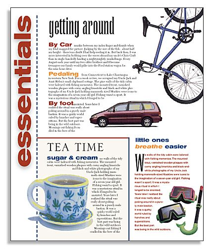 Travel magazine layout. Convert to a yearbook spread.  essentials for:  the play…