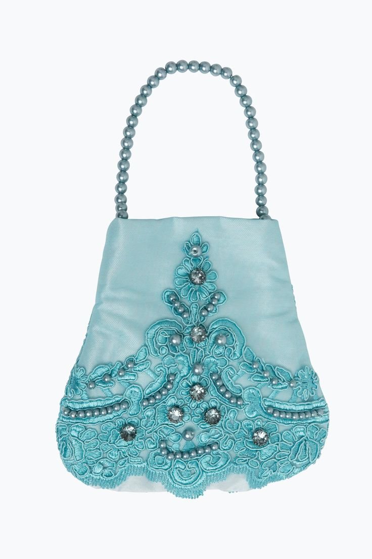 Bag in beautiful turquoise tulle embroidered with an ornate floral design embellished with hand-sewn pearls