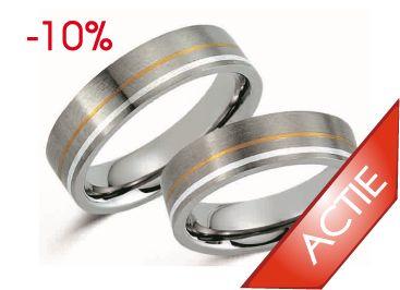 Verlovingsringen Titanium & Goud & Zilver gecombineerd. Kijk voor deze unieke ringen op Trouwringenvoordeel.nl 330,00