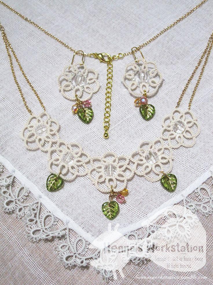 Tiare - tatting lace necklace and earrings with beads티아레 - 태팅레이스 모티브와 비즈를 이용한 목걸이와 귀걸이 세트