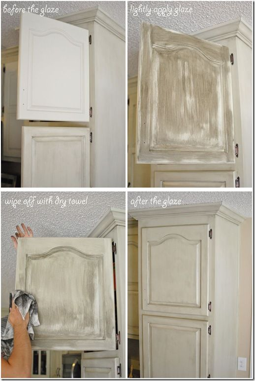 GlazingTheCabinets.  Valspar's Antiquing Glaze and it turned out exactly the way I wanted!  Using a paint brush, we wiped the glaze onto the face of the cabinet.  The instructions say that the glaze is workable for 15 minutes so leave it on longer for a more distressed look.  Again, I wanted subtle so as soon as the entire cabinet was painted with the glaze, we wiped it off with a dry towel.  If certain areas were too dark, we used a damp cloth to wipe those areas.