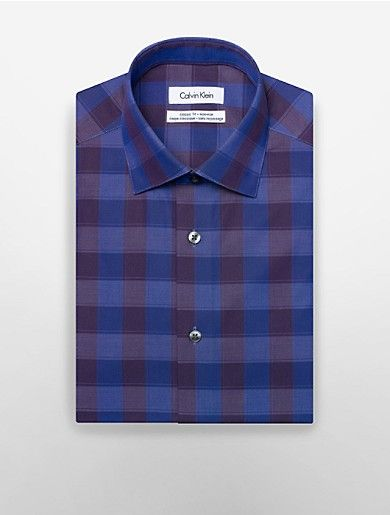 regular fit non-iron large plaid print dress shirt | Calvin Klein