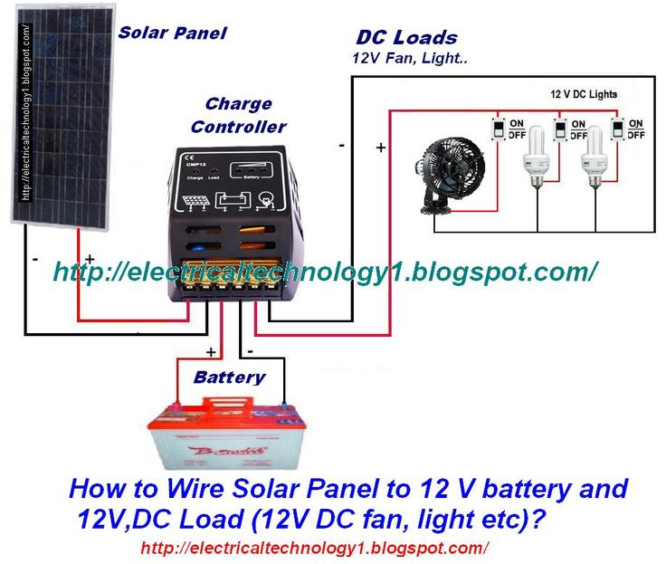 How To Wire Solar Panel To 12v Battery And 12v Dc Load Solar