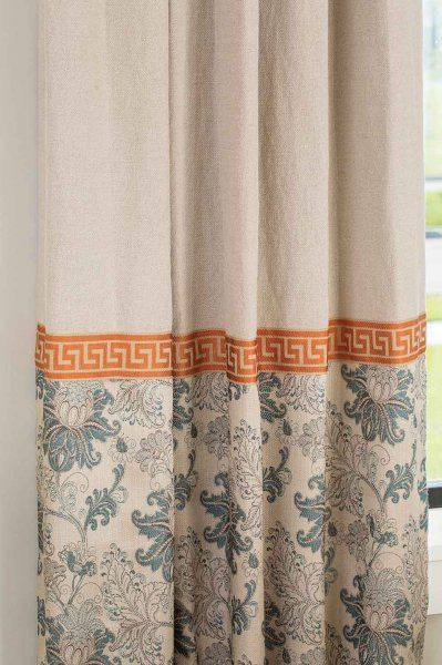 """Savannah"" drape with tangerine Greek key trim from Drapery Street"