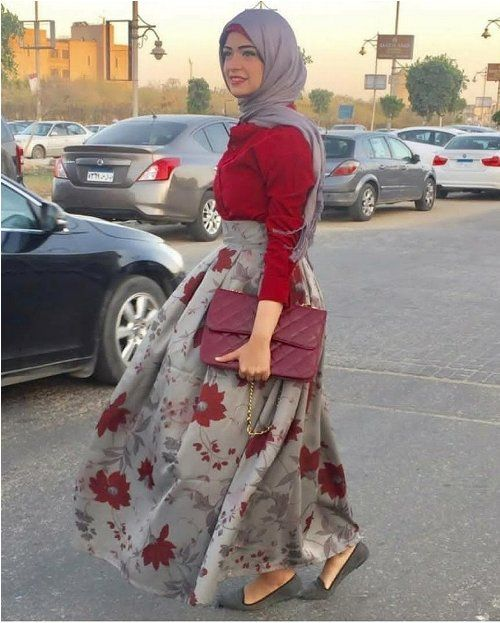 floral maxi skirt-Simple casual hijab outfits – Just Trendy Girls