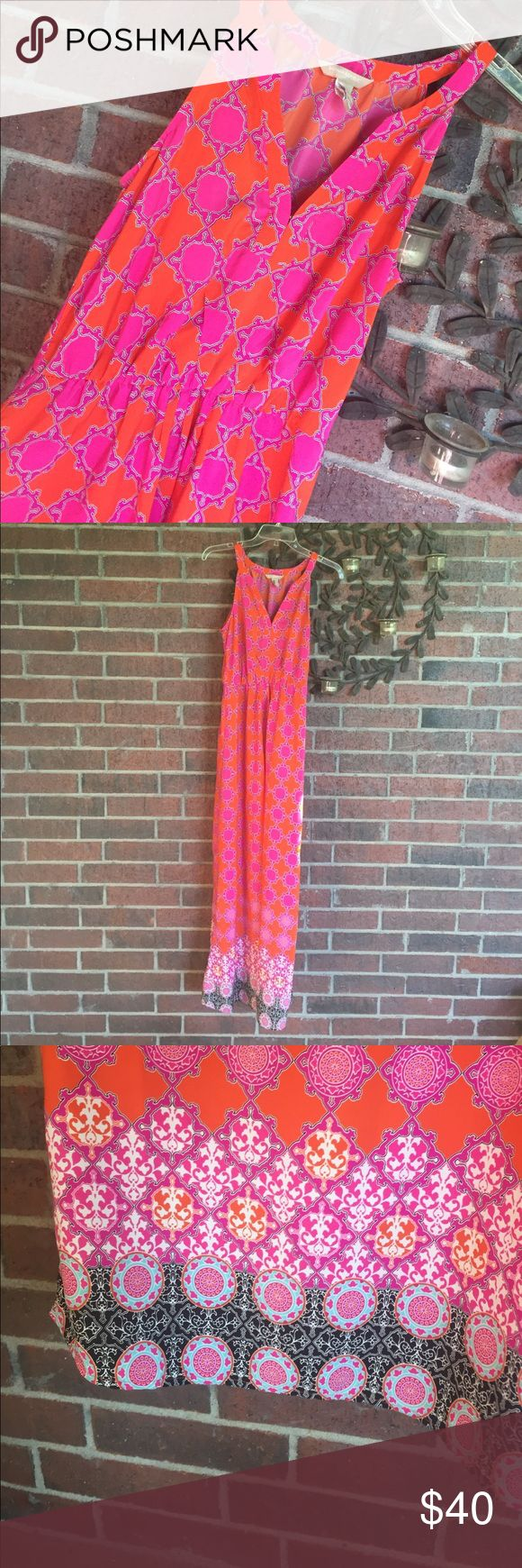 Banana Republic Pink Orange Maxi Dress Size 2 Gorgeous dress! Size 2 with measurements of 14-16 (stretchy) in from underarm to underarm and 55 in from top of shoulder down.  Excellent condition!  From the factory store. (73162) Banana Republic Dresses Maxi