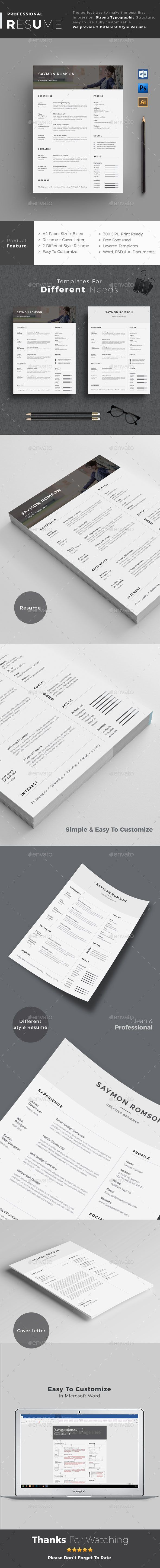 resume format 2015%0A Resume Resume Word Template   CV Template with super clean and modern look   Clean Resume Template page designs are easy to use and customize