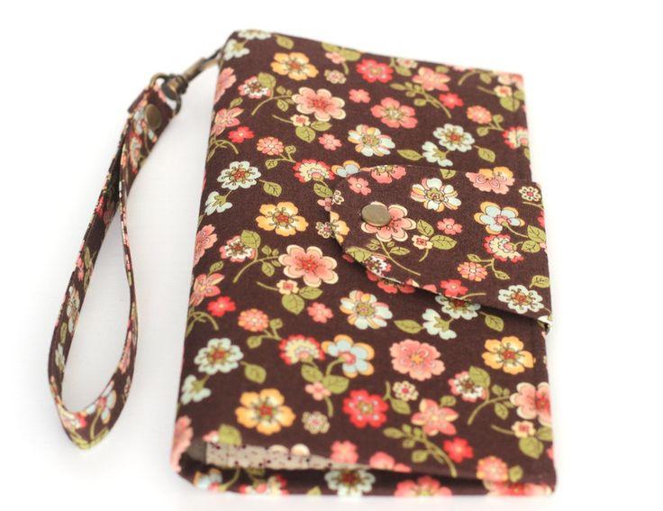 Bright travel wallet case passport travel holder cotton gray wallet organizer animal forest wallet travel document + Free gift! by KodamaLife on Etsy