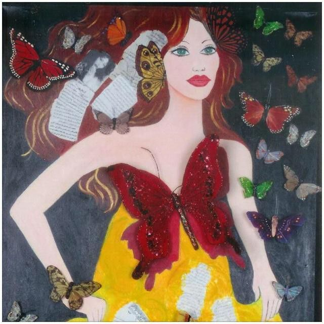 This #painting is called #butterflygirl. I don't look at it as a #selfportrait but I did use myself as the #inspiration. I classify his one as #mixedmedia. You really need to see it in order to appreciate it. This #beautiful #original work is still #available. Please #contact us for more #information and #follow us @nadia_art_gallery.