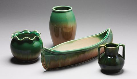 Assortment of green and fawn glazed Waverley ware vases produced between 1925 and 1950.