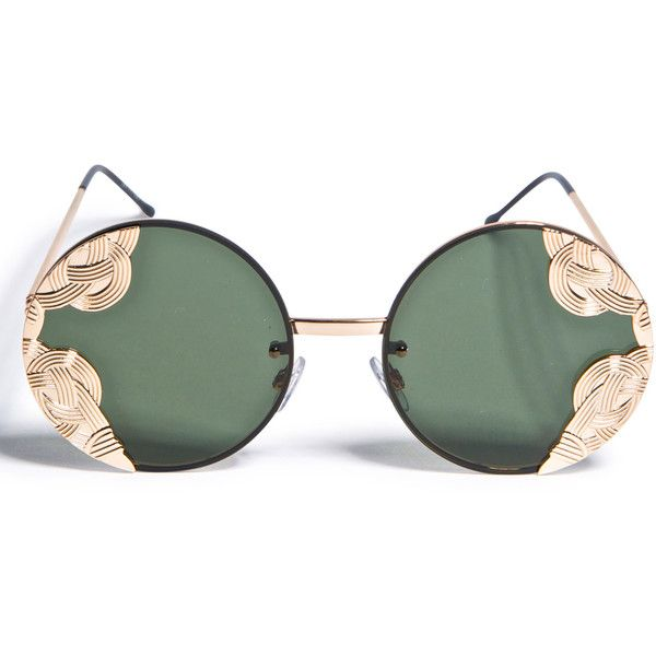 Spitfire British Riviera Sunglasses ($45) ❤ liked on Polyvore featuring accessories, eyewear, sunglasses, round lens glasses, round sunglasses, metal glasses, rounded sunglasses and metal sunglasses