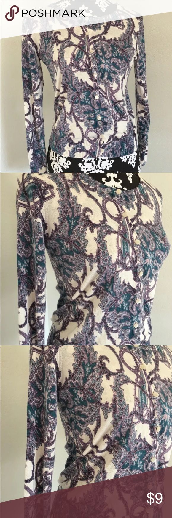 """Talbots Petite Size S white purple cardigan Gorgeous size smaller petite cardigan in amazing condition  Length 22""""  Armpit to armpit 18"""" Talbots Sweaters Cardigans"""