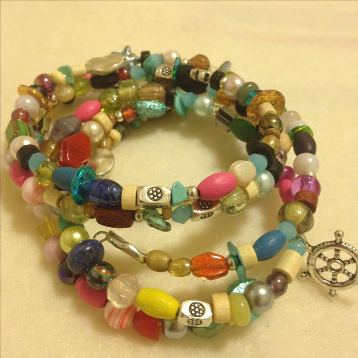 Lovely 4 mixed beaded coil bracelets  #boho #style #fashion #jewelry